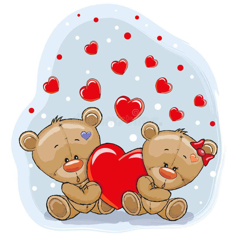 Two Bears with heart stock illustration