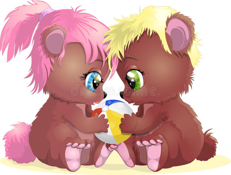 Two bears. Two lovely bears with an inflatable ball vector illustration
