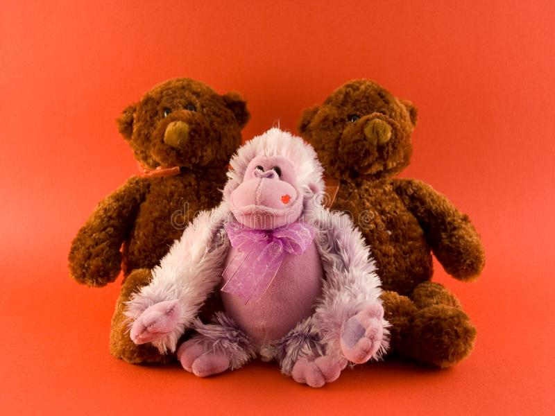 Download Two Bears and a Monkey stock photo. Image of valentines - 443096