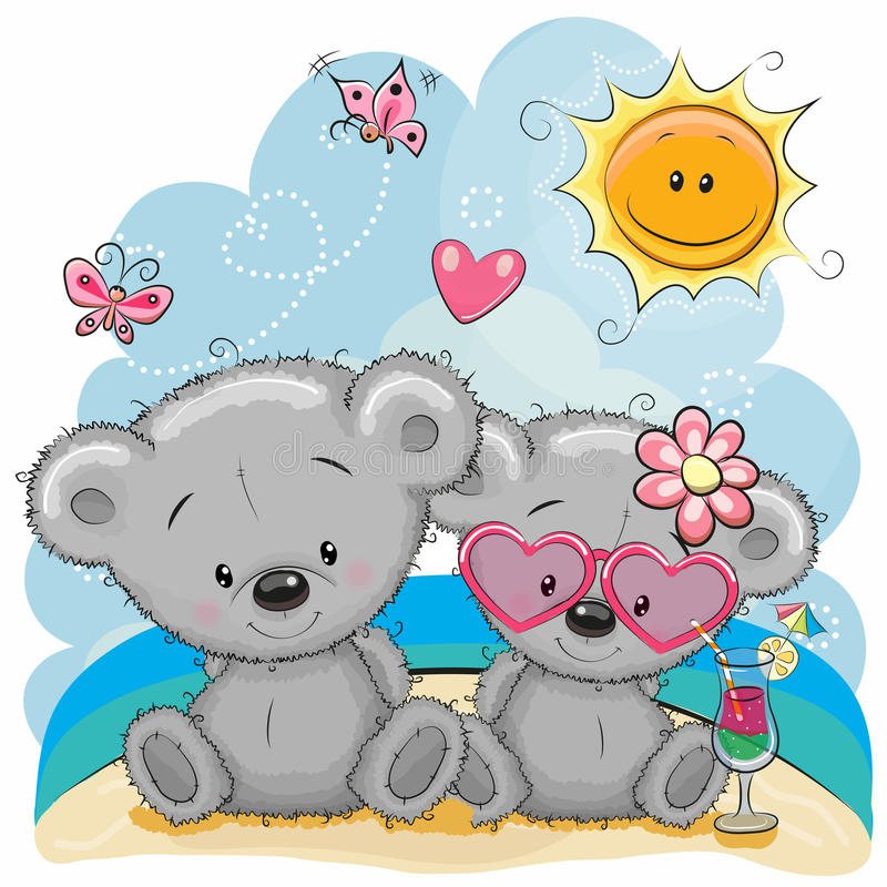 Free Two Bears On The Beach Stock Image - 92908011