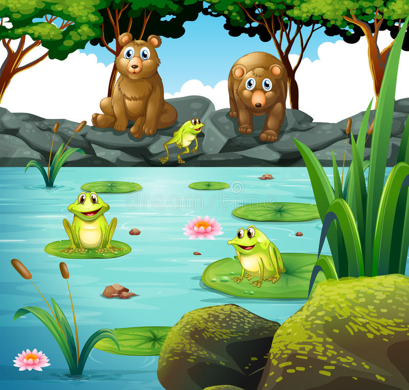 Two bears and three frogs at the pond stock illustration