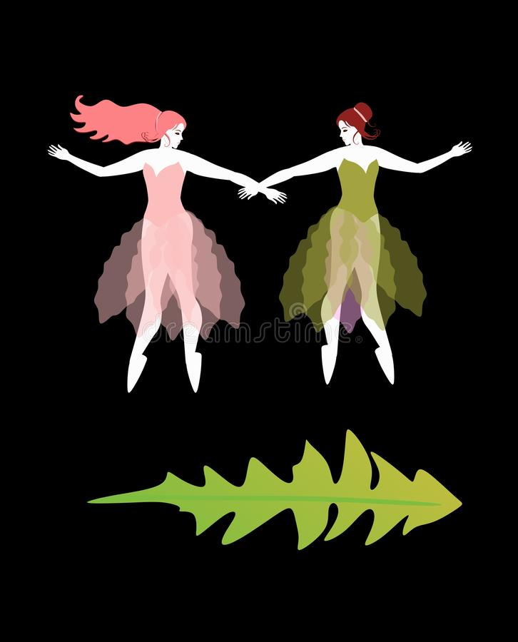 Two beautiful ballerinas in pink and green dress on black background. Fairies of spring and summer. Vector illustration.  royalty free illustration