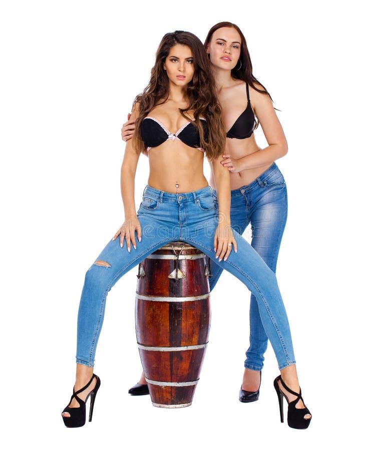 Two beautiful berunette women stock photography