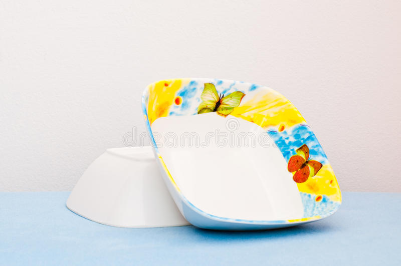 Download Two Beautiful Bowls On Blue Cloth Stock Image - Image of empty, plastic: 17150029