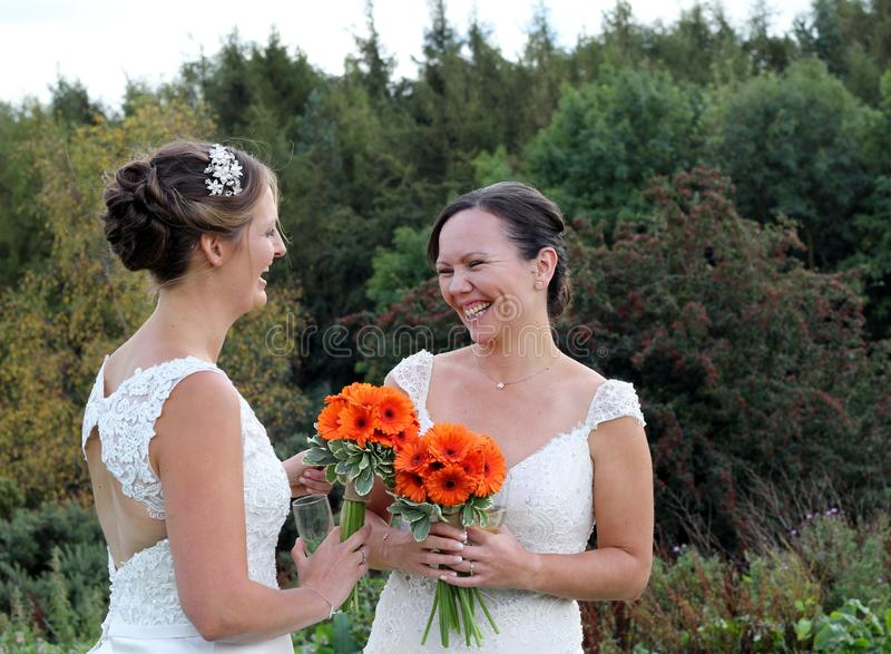 Same sex rural wedding. Two beautiful brides laughing and smiling , holding orange gerbera flowers ., a Yorkshire landscape in the background. both women wear royalty free stock photos