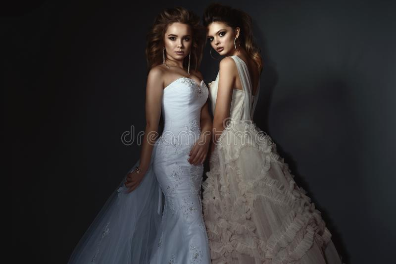 Two beautiful brides with perfect make up and hairstyle wearing luxurious wedding dresses and splendid earrings. stock photo