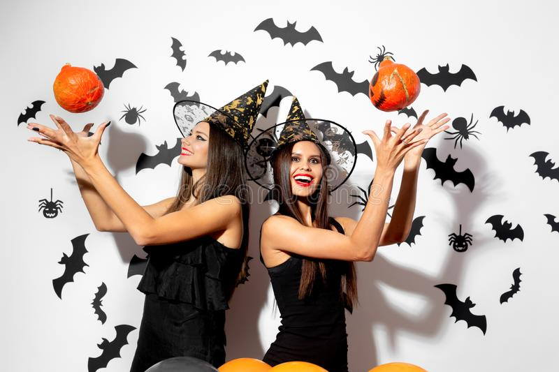 Two beautiful brunette women in witches hats have fun with Halloween pumpkins on a white background with bats and stock photo