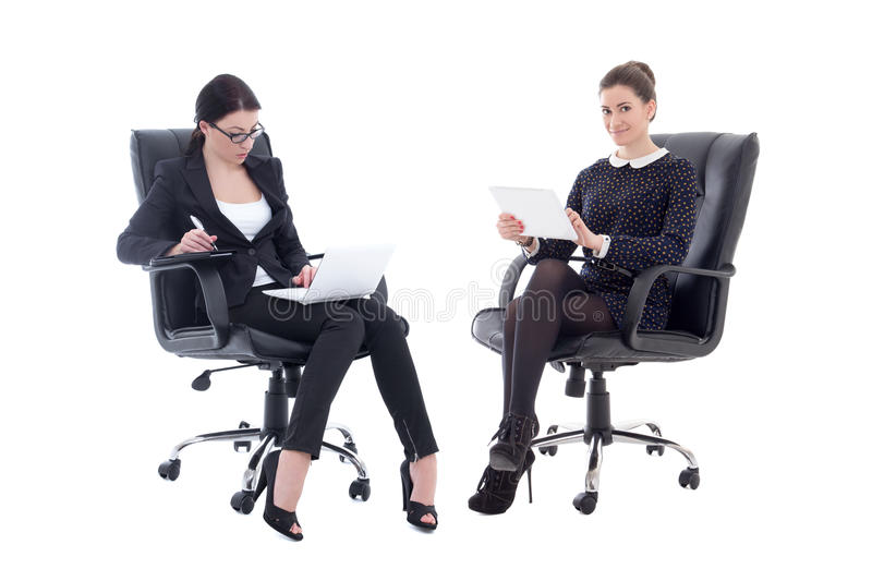office furniture for women. download two beautiful business women sitting on office chairs with table stock image - of furniture for