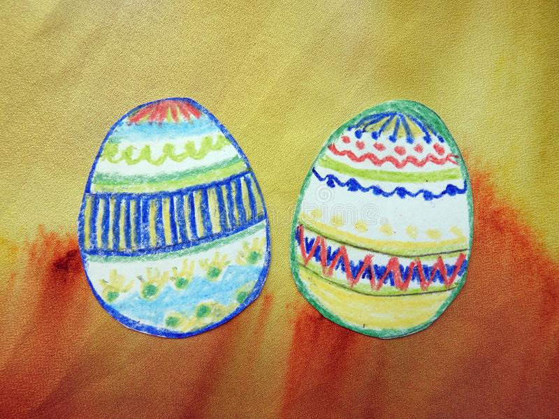 Two children painted Easter eggs, Lithuania royalty free stock photography