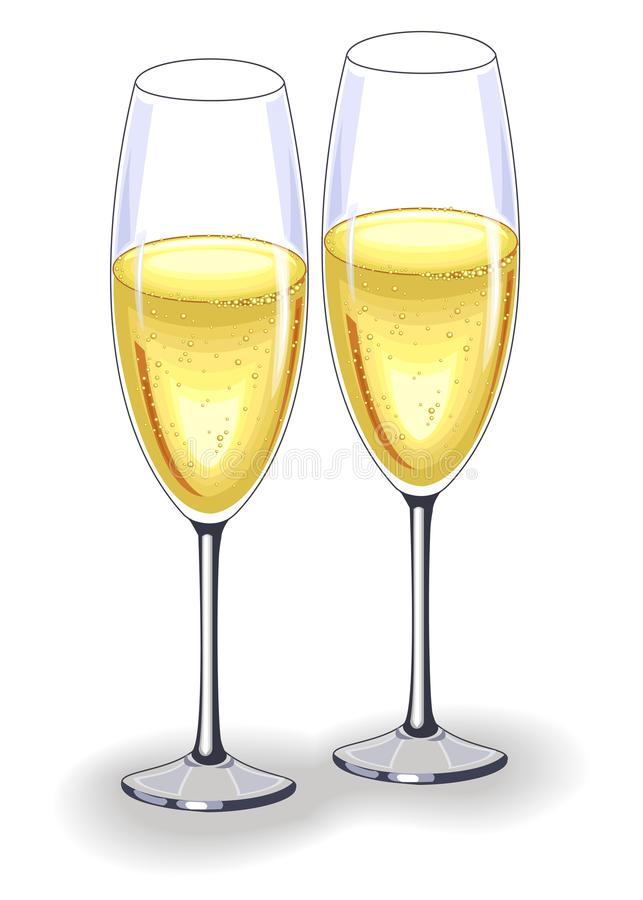 Two beautiful crystal glasses of champagne wine. Decoration of the festive table for the New Year, Christmas, Valentine s Day. stock illustration