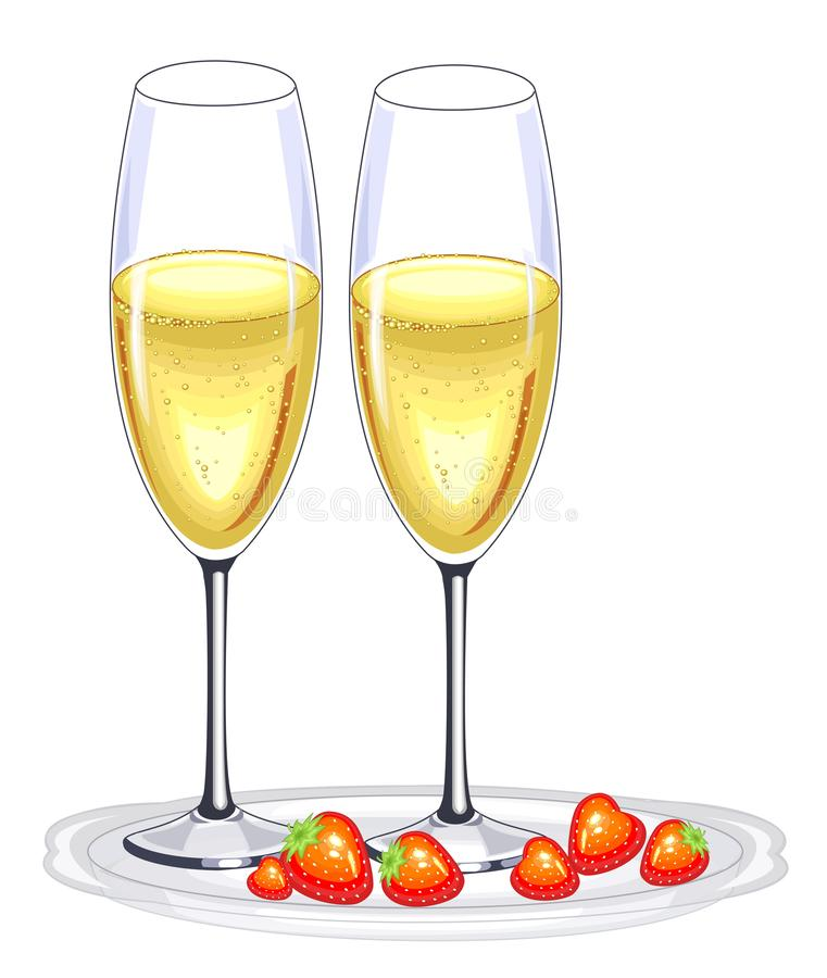 Two beautiful crystal glasses of champagne wine and red strawberries. Decoration of the festive table for the New Year, Christmas stock illustration