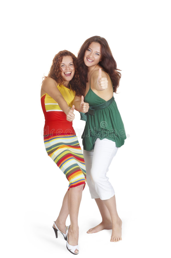 Two beautiful girls smile (insulated). Two young beautiful girls Laugh and have fun stock photos