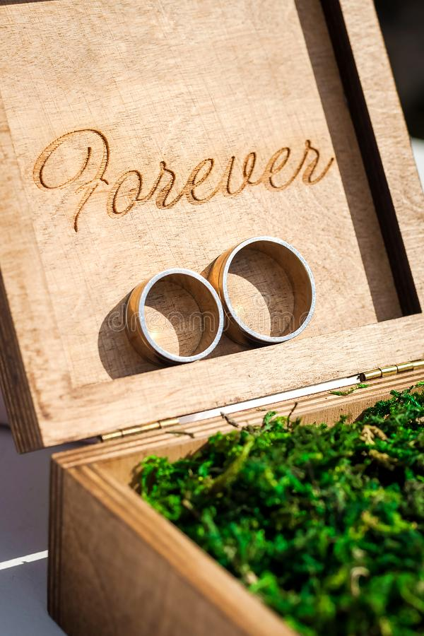 Bridal rings in a wooden box filled with moss royalty free stock images