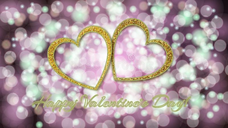 Two beautiful golden shiny beautiful hearts with love inscription Valentine`s Day and neon effect on a purple pink background wit royalty free stock photography