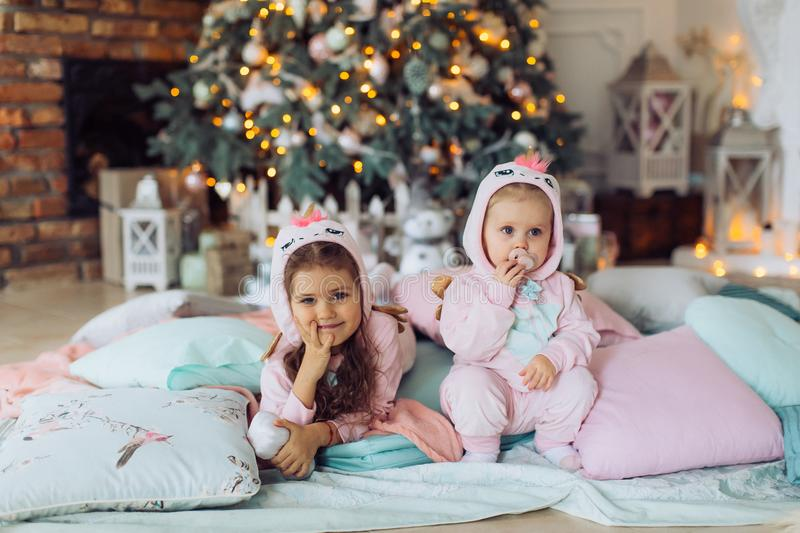 Two beautiful happy sisters near the Christmas stock photography