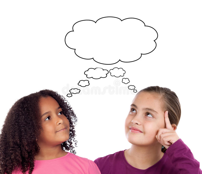 Two beautiful little girl thinking stock images