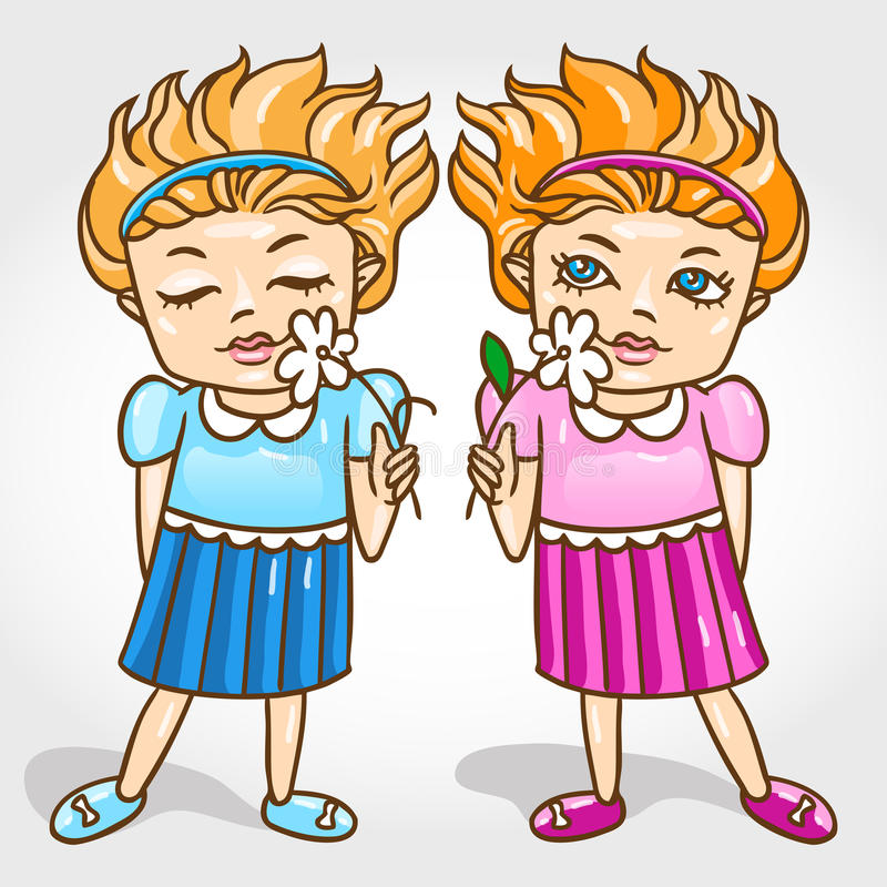 Two beautiful little girls twins with flowers vect royalty free illustration