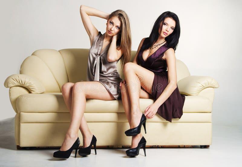 Two beautiful luxurious women stock image