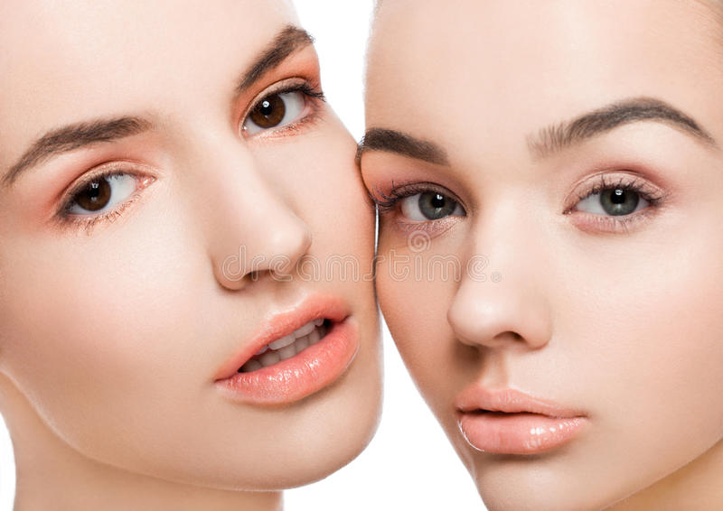Two beautiful models with natural beauty makeup royalty free stock images