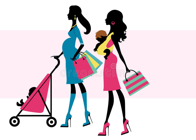 Two beautiful moms shopping with children royalty free illustration