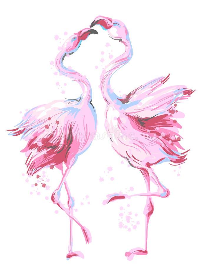 Two beautiful pink flamingos dancing in honeymoon, making love, vector hand drawn illustration isolated on white. Two pink flamingos dancing in honeymoon, making royalty free illustration