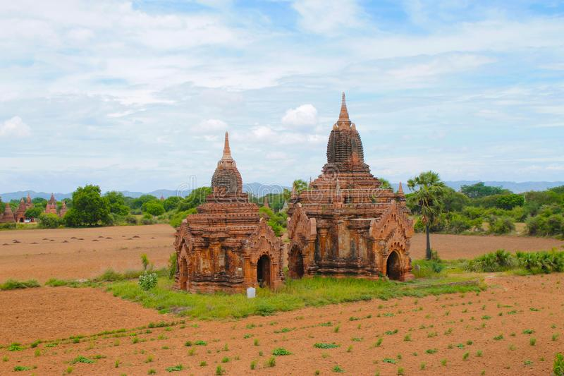 Two Temples of Bagan near Ananda in Myanmar Burma royalty free stock photo