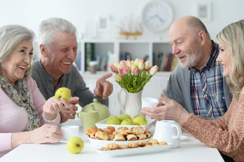 Portrait of two senior couples drinking tea. Two beautiful senior couples posing and drinking tea at home royalty free stock images