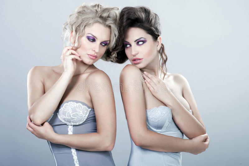 Two beautiful young women. royalty free stock images
