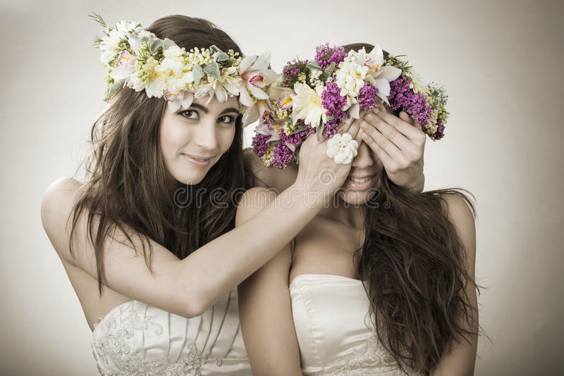 Two beautiful spring fairy , funny, friendship symbol stock images