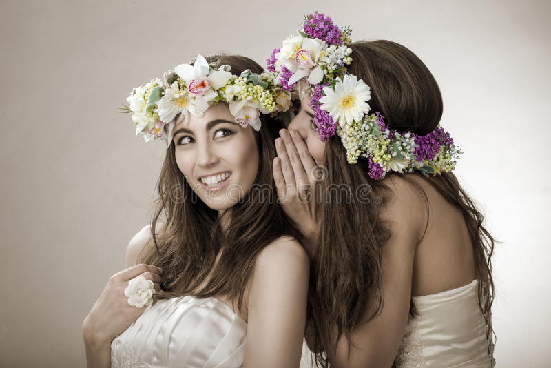 Two beautiful spring fairy , funny, friendship symbol royalty free stock photos