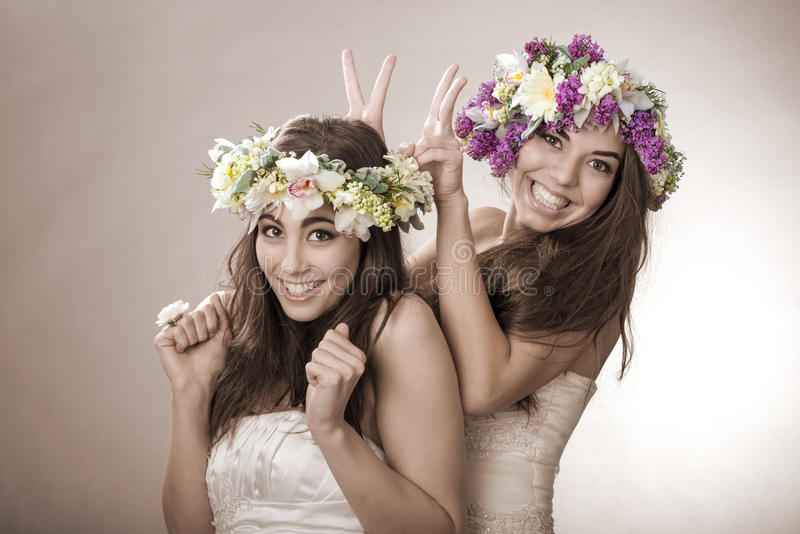 Two beautiful spring fairy , funny, friendship symbol stock photos