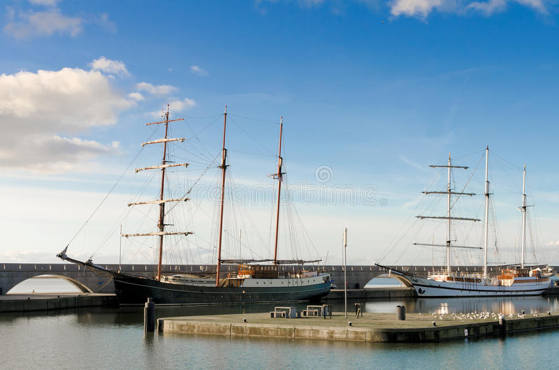 Two Beautiful Tall Ships In A Harbour Royalty Free Stock Photos