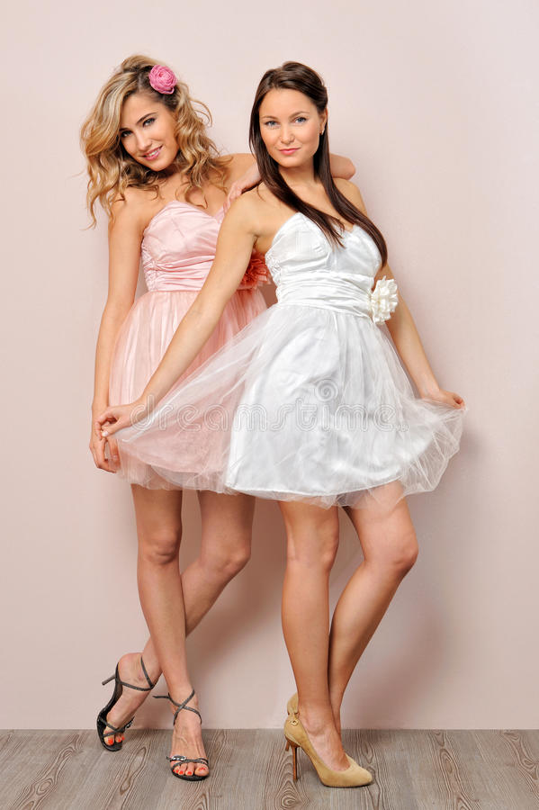 Two beautiful woman in chic dresses. Portrait of the two beautiful women in chic dresses royalty free stock photo