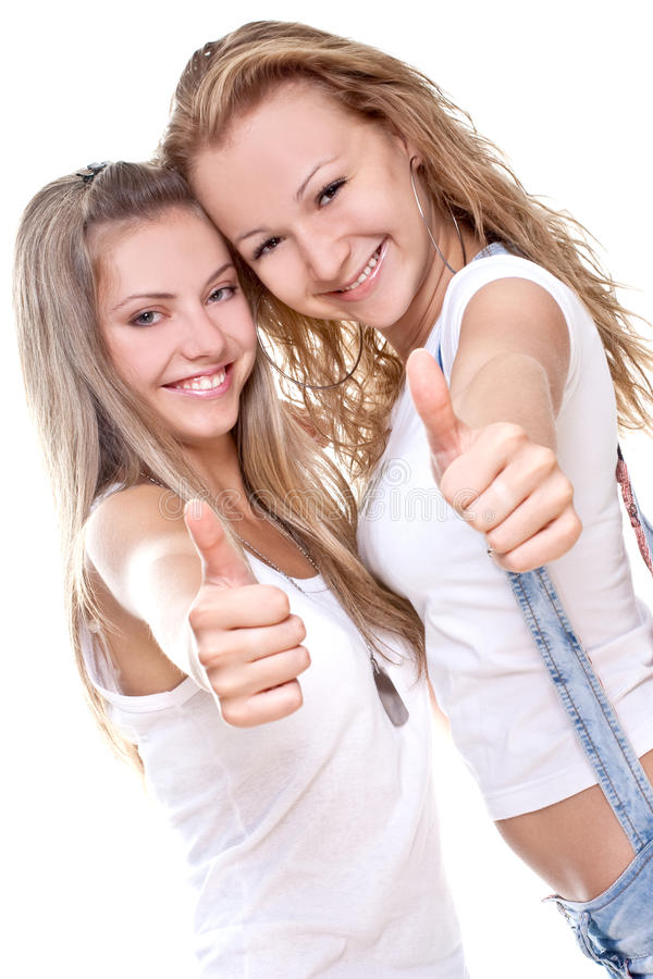 Download Two Beautiful Women Giving Thumbs-up Stock Image - Image of life, friends: 10523167