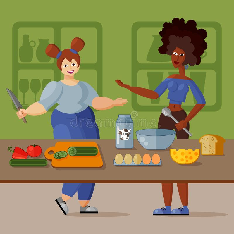 Two beautiful young girlfriends cook healthy breakfast in the kitchen together. Cartoon illustration. Slender African-American and buxom European. Friendly royalty free illustration