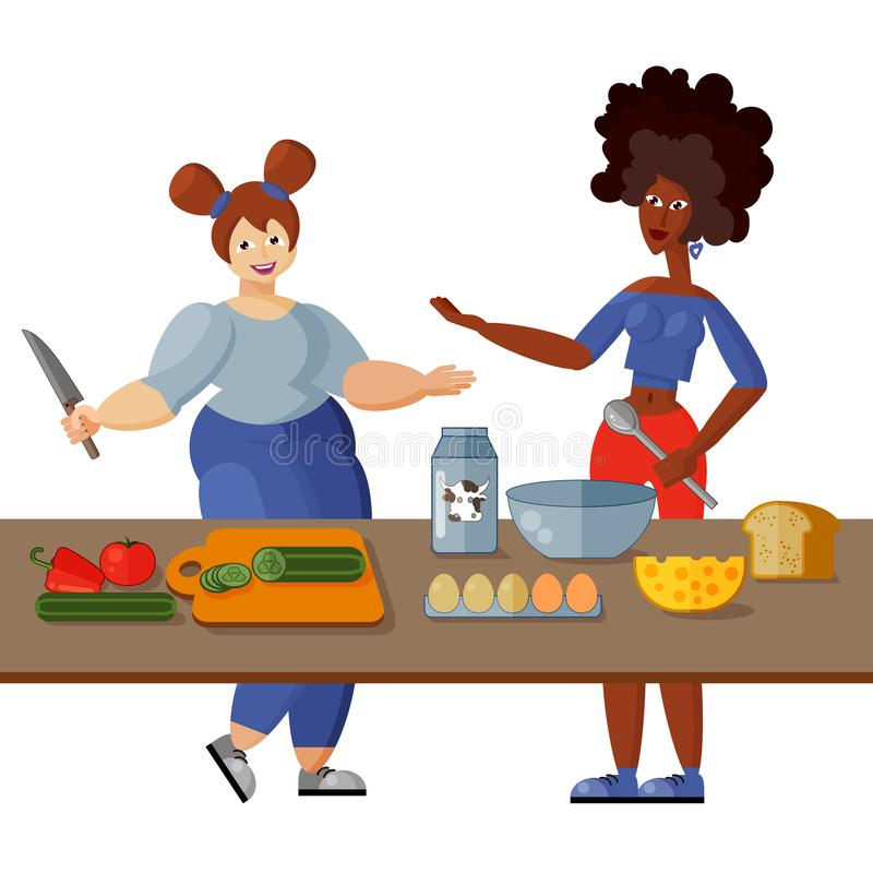 Two beautiful young girlfriends cook healthy breakfast in the kitchen together. Isolated objects on white background. Two beautiful young girlfriends cook royalty free illustration