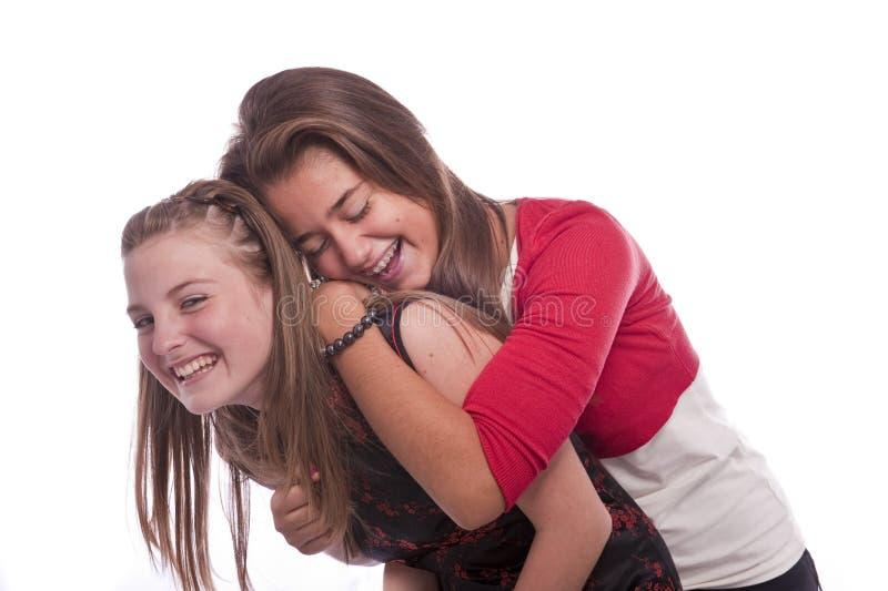 Two beautiful young teenage girls royalty free stock photo