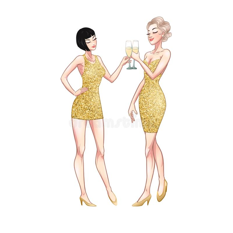Two beautiful young women holding champagne glasses. Twenties retro party pin-up flapper girls in gold glitter dresses. Vector royalty free illustration