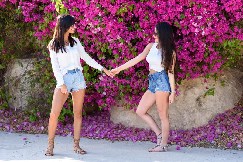 Beautiful happy young women holding hands on colorful natural background of bright pink flowers. Two beautiful young women holding hands having fun in summer stock images