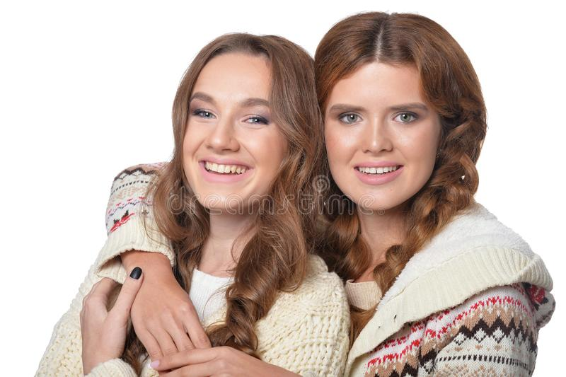 Close up portrait of two beautiful young women stock photos