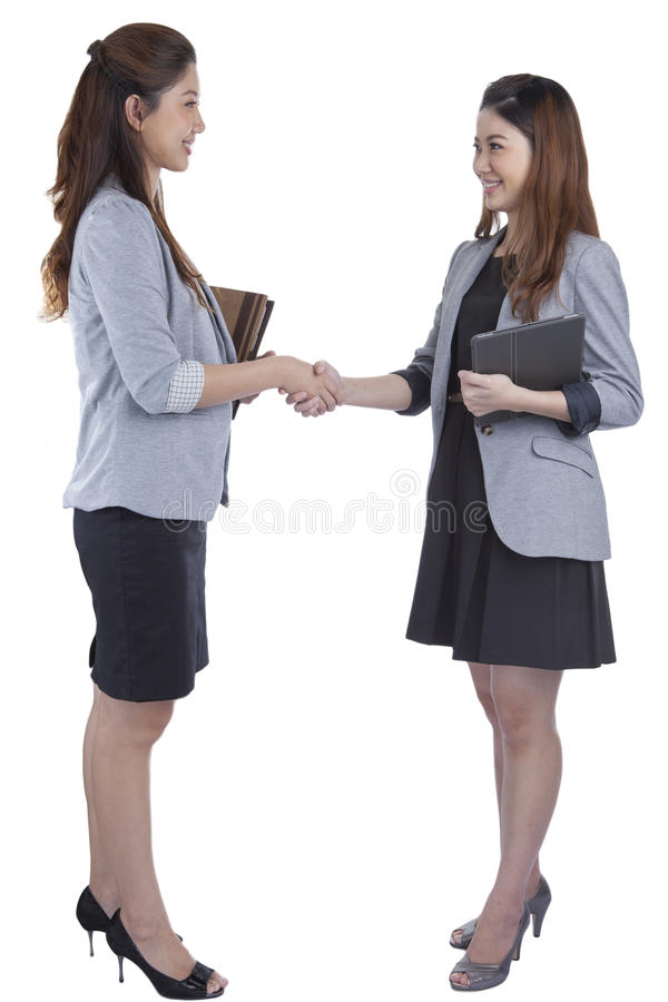 Two beauty businesswomen handshaking royalty free stock images