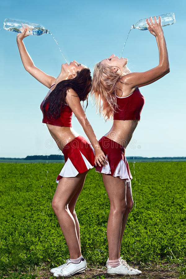 Free Two Beauty Cheerleader Stock Images - 25291114