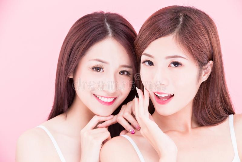 Two beauty skincare women stock photo