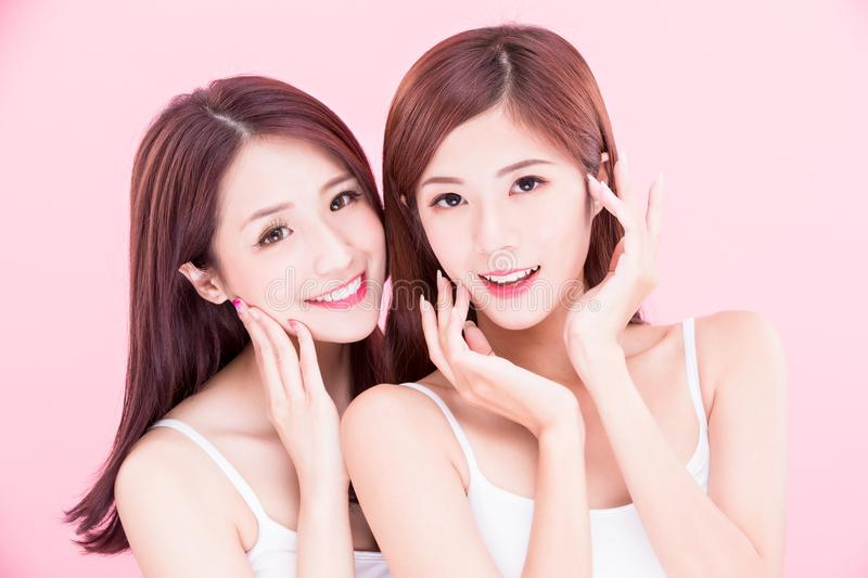 Two beauty skincare women royalty free stock images