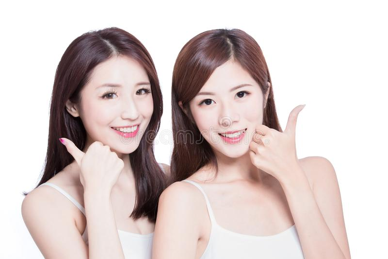 Two beauty skincare woman stock photography