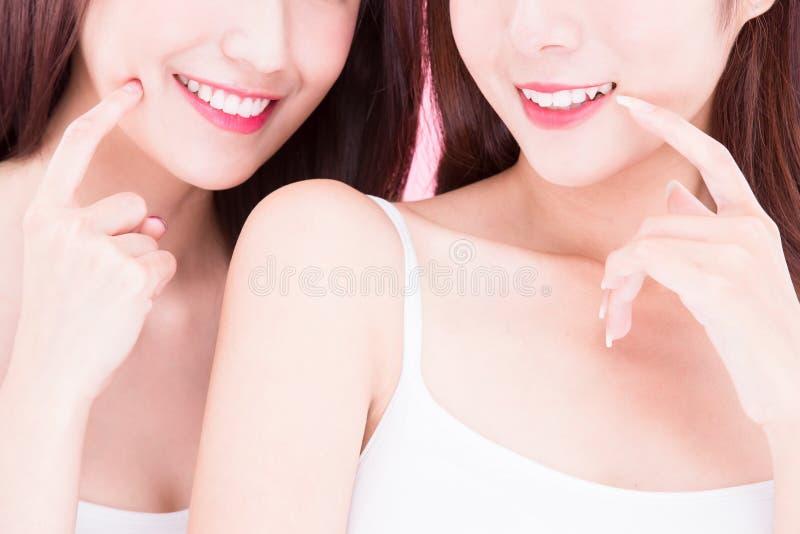 Two beauty skincare women royalty free stock photo