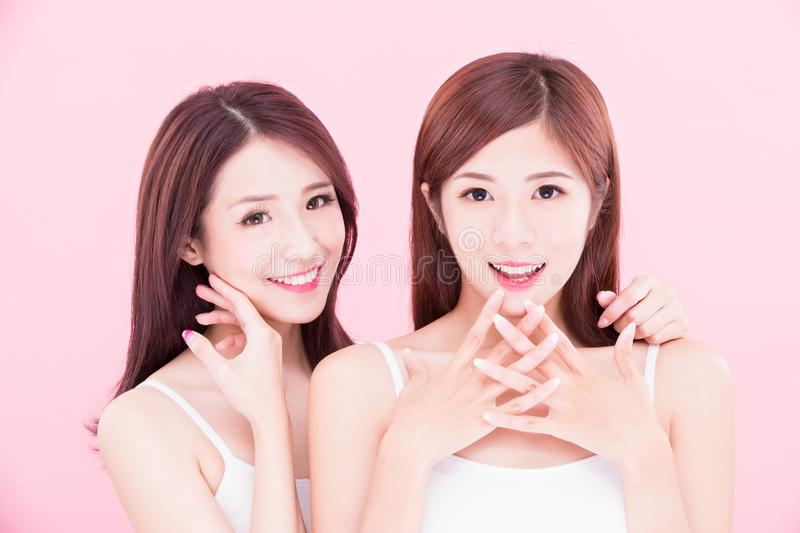 Two beauty skincare women stock photography