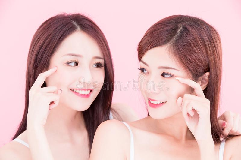 Two beauty skincare women stock images