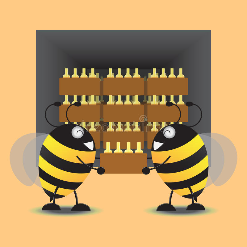 Two Bee Storage Honey Jar Into The Warehouse. Vector Illustration vector illustration
