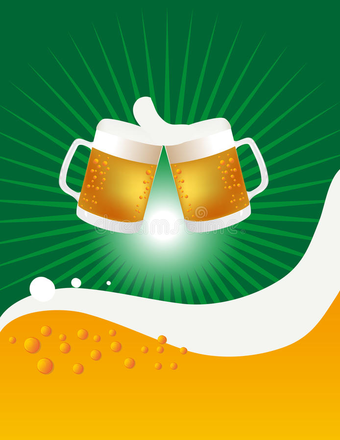 Two Beer Mugs And Cheers vector illustration